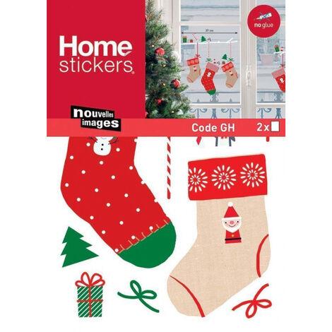 Sticker fenêtre chaussettes de Noël 24 x 3 x 36 cm - Rouge