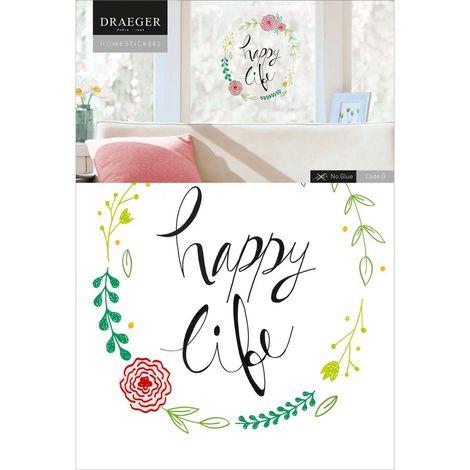Sticker fenêtre couronne de fleurs Happy life 26 x 36 cm - Vert