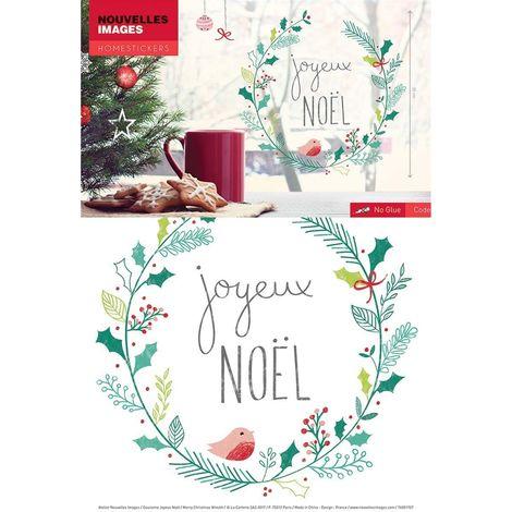 Sticker fenêtre couronne Joyeux Noël 24 x 3 x 36 cm - Vert