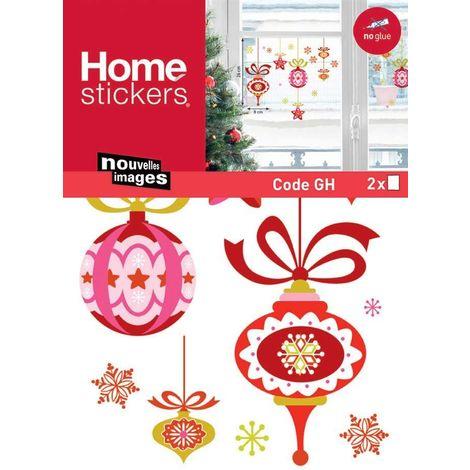 Sticker fenêtre de boules de Noël rouge et rose 24 x 3 x 36 cm - Rouge