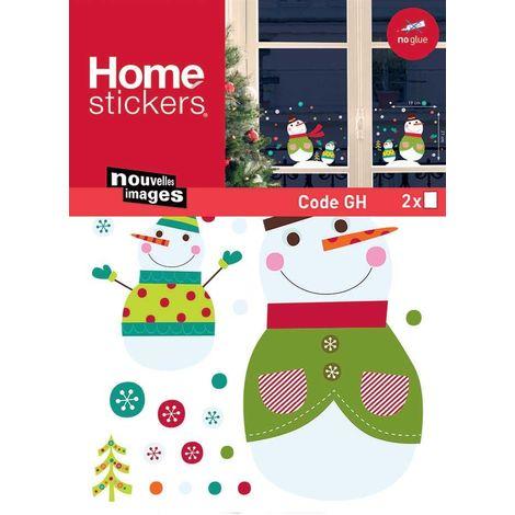 Sticker fenêtre de Noël bonhommes de neige 24 x 3 x 36 cm - Vert