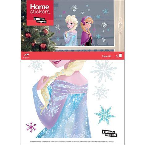 Sticker fenêtre de Noël la reine des Neiges Elsa et Anna 24 x 3 x 36 cm - Bleu