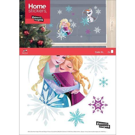 Sticker fenêtre de Noël la reine des Neiges Emma - Anna et Olaf 24 x 3 x 36 cm - Bleu