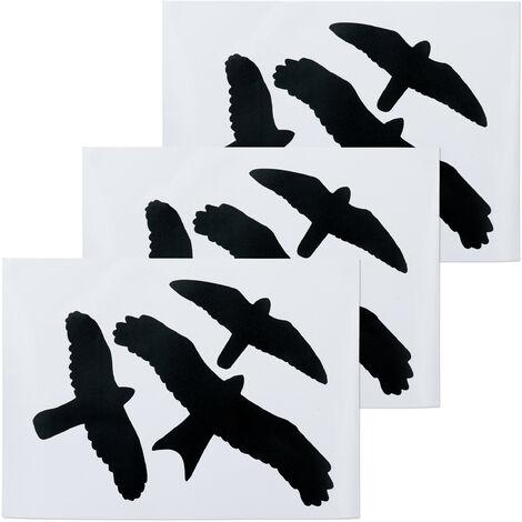 Sticker fenêtre en lot de 9, anti-collision oiseaux, pour vitres et portes en verre, set autocollants, noir
