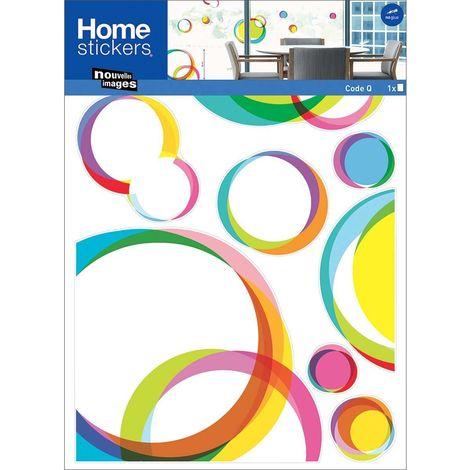 Sticker fenêtre en polypropylène ronds pop graphiques colorés - Multicolore