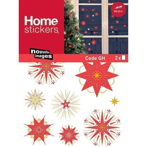 Sticker fenêtre étoiles scintillantes Noël 24 x 3 x 36 cm - Rose foncé