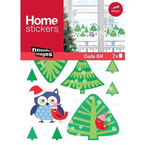 Sticker fenêtre forêt de sapins et chouette de Noël 24 x 3 x 36 cm - Vert