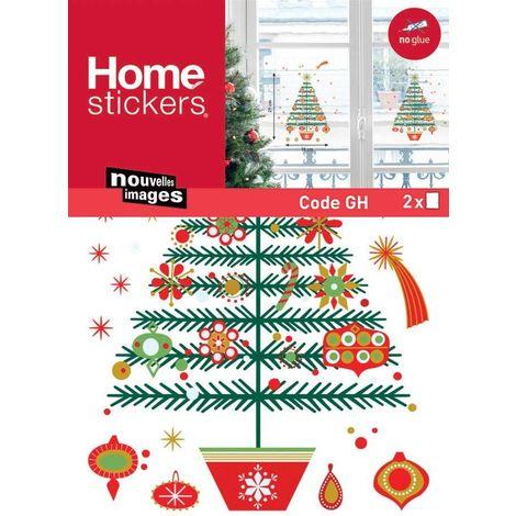 Sticker fenêtre sapin de Noël 24 x 3 x 36 cm - Rouge