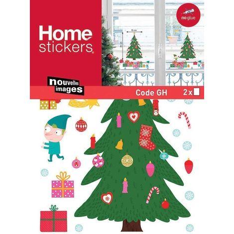 Sticker fenêtre sapin et cadeaux 24 x 3 x 36 cm - Vert