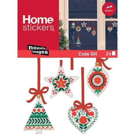 Sticker fenêtre sapins - coeurs et étoiles en décoration de sapin 24 x 3 x 36 cm - Rouge