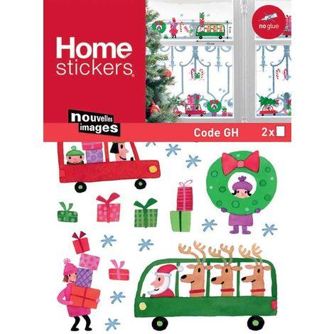 Sticker fenêtre voitures et cadeaux de Noël 24 x 3 x 36 cm - Rose