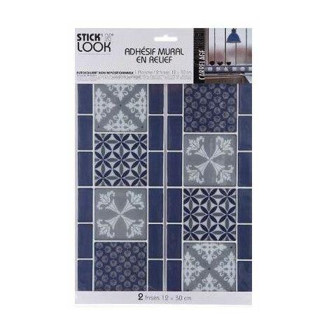 Sticker frise effet carrelage - Adhésif mural - Petites fleurs - Bleu