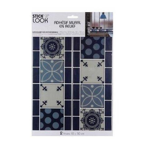 Sticker frise effet carrelage - Adhésif mural - Petits ronds - Bleu