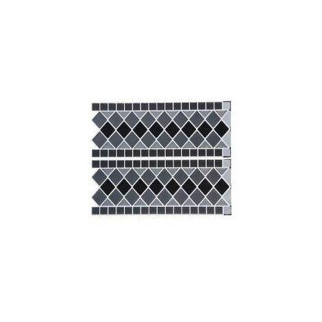 Sticker frise effet carrelage - Carreaux gris - 38 x 25 cm