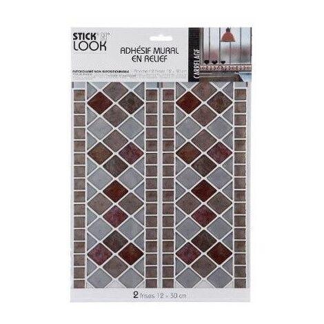 Sticker frise effet carrelage - Carreaux rouges - 38 x 25 cm
