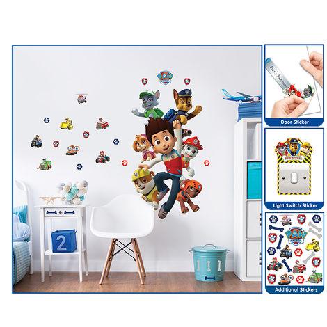 Sticker géant et 25 Petits stickers Pat' Patrouille repositionnables