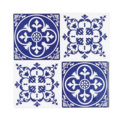Sticker mosaïque mural - 4 carreaux - Arrondi - Bleu - Livraison gratuite