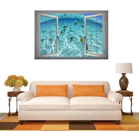 Sticker Mural 3D sous-marin World View fenêtre amovible Art sticker, Taille: 66 x 98 x 0,3 cm