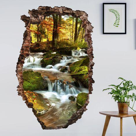 Sticker mural 3D - Waterfall Autumnal Forest - Portrait Format 3:2