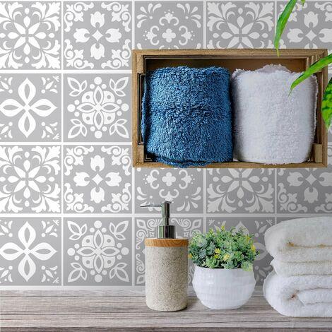sticker mural Andalu ciment Carreaux espagnol autocollant gris clair / blanc 15x15 cm 24 pièces