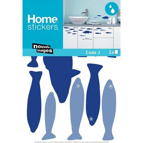 Sticker mural banc de poissons bleus - Bleu