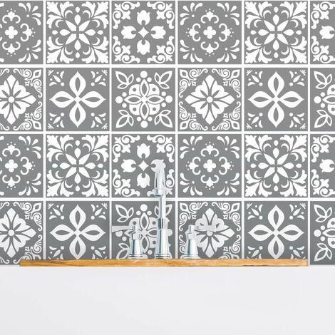 sticker mural Banus ciment Carreaux espagnol autocollant gris foncé / blanc 15x15 cm 24 pièces