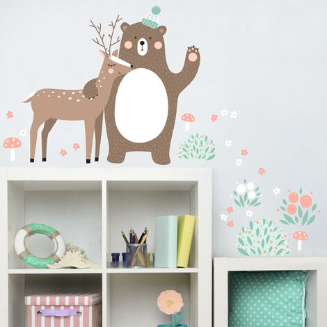 Sticker mural Children's pattern Forest friends with bear and deer Dimension: 32cm x 36cm