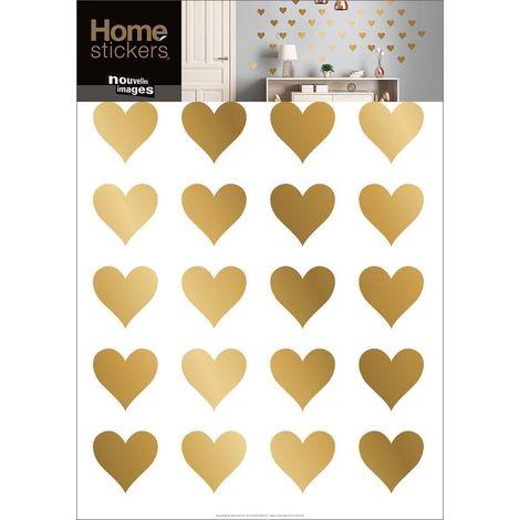 Sticker mural coeurs dorés - Doré