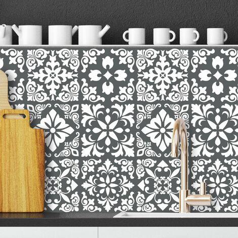 sticker mural Espagnol Autocollant pour carrelage Renaissance Gris foncé / Blanc 15x15 cm 24 pièces