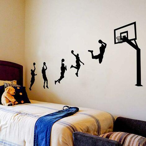 Sticker Mural, Lancer le Basket Autocollant Mural Comme Decoration Murale Pour Chambre A Coucher Salon Chambre D'enfant, Art Bricolage Decoration Murale Stickers Muraux, 123×203cm
