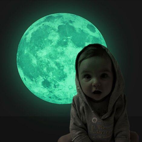 Sticker Mural Lumineux Autocollant Fluorescent Motif de Lune 30cm pour Chambre d'Enfant Bébé
