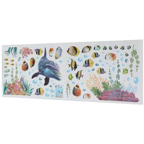 Sticker mural monde sous-marin déco enfant maison 25X70cm Hasaki