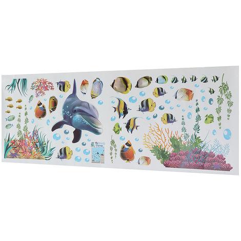 Sticker mural monde sous-marin déco enfant maison 25X70cm