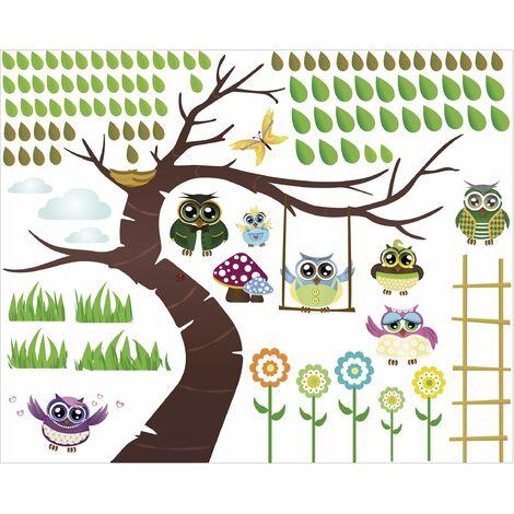 Sticker Mural Arbre Hibou Drôle   Dimension: 60cm X 74cm