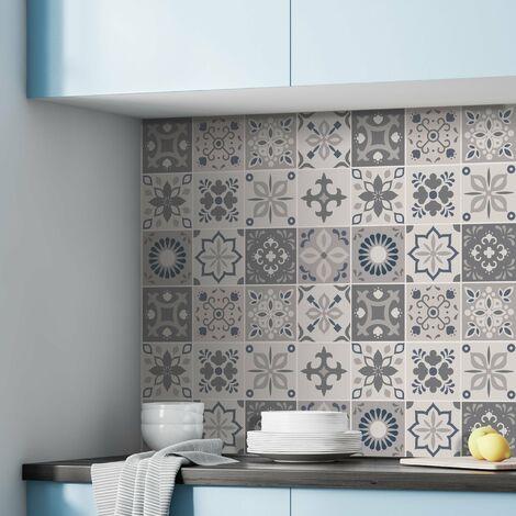 sticker mural palais marocain Autocollants pour carrelage gris foncé / gris / bleu 15x15 cm 24 pièces