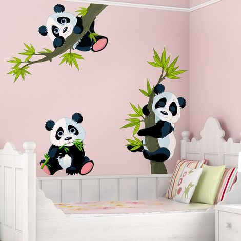 Sticker Mural Panda Bear Set