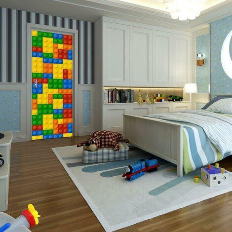 sticker mural porte décoration autocollant blocs de construction