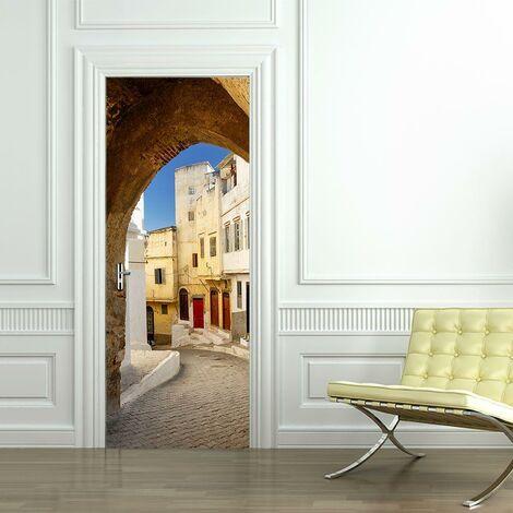 sticker mural Porte décoration autocollant Les rues de Tanger