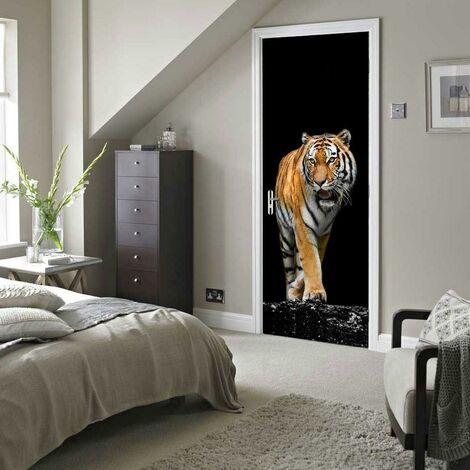 sticker mural Porte décoration autocollant Tiger