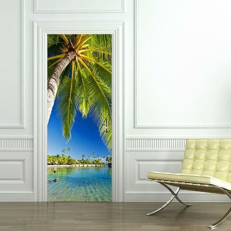 sticker mural Porte décoration autocollant Tropical Island
