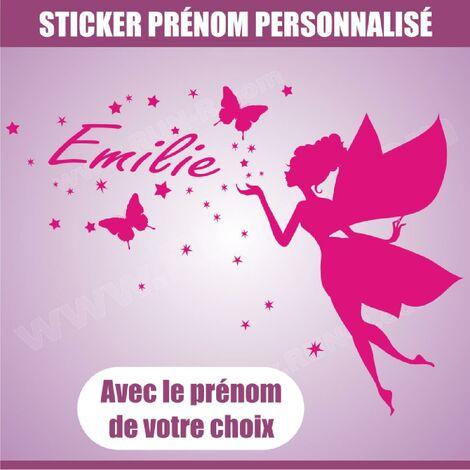 Sticker mural prenom fille Fee papillon etoile 90 cm - Rose