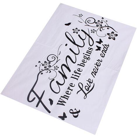 Sticker Mural Pvc Papier Peint Decal Amovible Chambre Vinyle Art Mural Stickers Muraux Home Living Décorations - Famille Où la vie commence et l'amour ne se termine jamais (90x35cm, 120x45cm) 120cm X 45 cm 120cm par 45cm