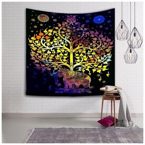 Sticker Mural Tapis de plage de tapisserie d'impression de style bohème à la maison de de plage, taille: 200 * 150cm ACH-601851