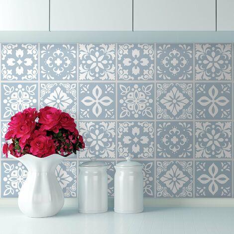 sticker mural Triana ciment Carreaux espagnol autocollant Bleu clair / Blanc 15x15 cm 24 pièces