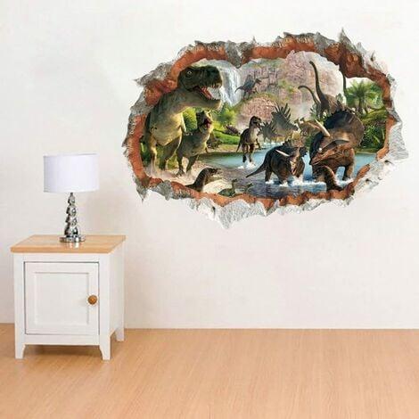 Sticker Muraux Dinosaures dans la Rivière 3D Autocollant Mural 3D Vue D'Effet Spécial 3D à L'Extérieur du Mur Fissuré Décoration Amovible DIY Vinyle Mur Maison Stickers pour Salon Chambre