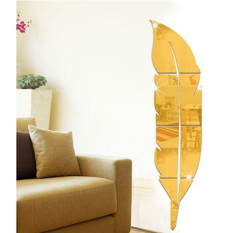 Sticker or DIY Plume Style Acrylique Miroir Stickers Muraux Home Room Mural Décoration Art Wall Sticker, Taille: 18 * 73 cm
