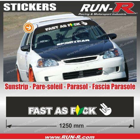 Sticker pare-soleil JDM 140 cm noir FAST AS FUCK compatible avec Honda Nissan Toyota Subaru Mazda