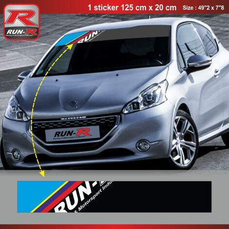 Sticker pare-soleil Run-R 00BQ PS Color 125x20cm compatible avec Peugeot