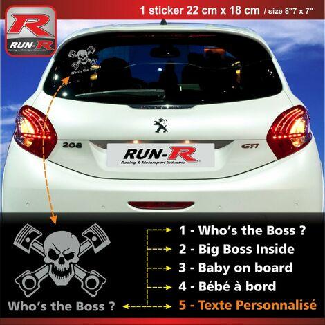 Sticker personnalisable compatible avec vitre arriere de Peugeot 207 207 208 couleur argent