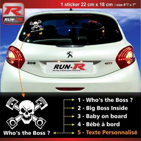 Sticker personnalisable compatible avec vitre arriere de Peugeot 207 207 208 couleur blanc